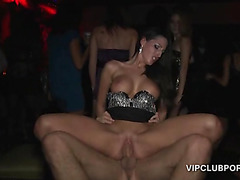 Sexy blonde humping huge dick in the VIP