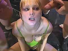 Pissing Bukkake Action With Nasty Blonde Euro Hoe