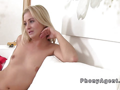 Blonde model fucks fake agent for a job