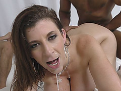 Guy watches mom Sara Jay sucking and riding big black dicks