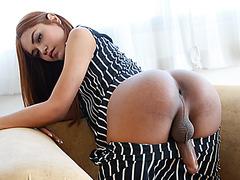 Sweet tranny Ballon loves to stroke her meaty cock