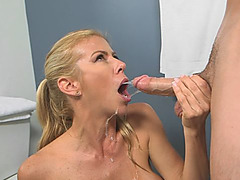 Amazing slut Alexis Fawx showers sexy body and gets fucked hard