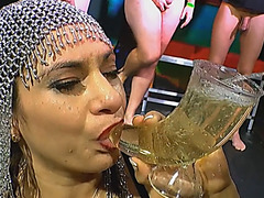 European slut gets pussy and throat eroticd during bukkake sex party