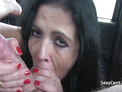 Brunette milf nailed big cock in cab