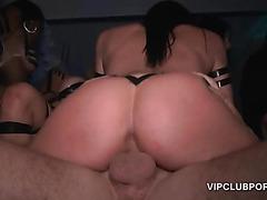 Sexy tramps filled up with cocks in the VIP room