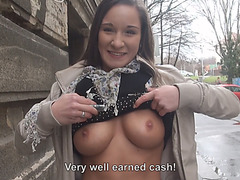 Gorgeous Myrna Joy flashes her big and firm juggies in public and gets laid