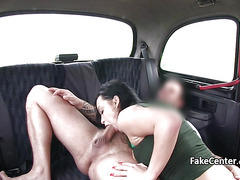 Crazy brunette squirting in taxi
