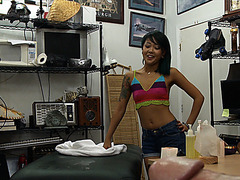 Hot and petite asian wants to sell her stuff instead sells herself
