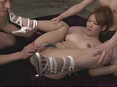 Luscious Asian babe gets stripped and double penetrated in hot threesome