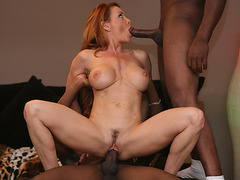 Hot cougar Janet tag teamed by 3 black dudes