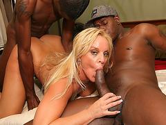 Horny blonde cougar Alexis hot interracial fuck