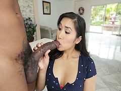 Mila Li loves sucking big black cock she is fascinated