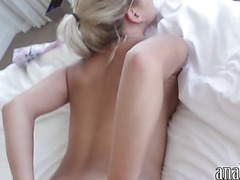 Big tits blond gf ass fucked and facialed while being filmed