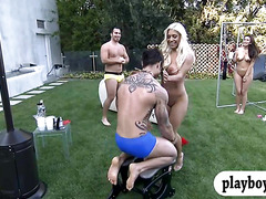 Two busty babes have fun with hunk guys and have lesbosex