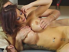 Busty MILF Ryder Skye massages client and gets pink pussy slayed