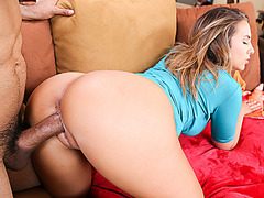 Horny hot babe Nicole having a meaty cock inside her pussy