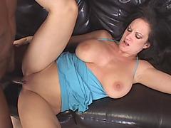 Big tits brunette mom footjob fucking interracial