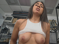Tall slim brunette in casting fucked by big black cock agent