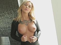 Tattooed busty blonde slut anal bbc blowjob