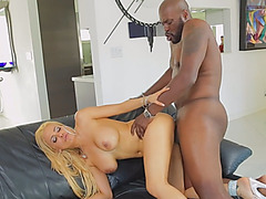 Big tits blonde babe doggy style bbc on couch