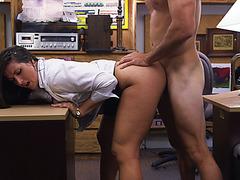 Juicy ass woman fucked doggystyle on pervert pawnshop desk