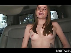 Tattooed blonde flashing tiny cunt in the bus