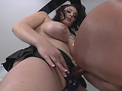 Busty dark hair chick doggy style anal handsome stud