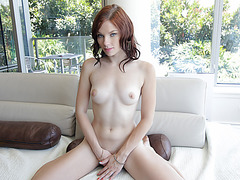 A nice and masterful blowjob in the couch with adorable Chloe Love