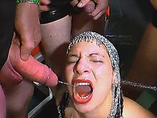 European slut gets showered in pissing gang bang