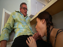 Lucie Kline blowjob Tonys cock under the table