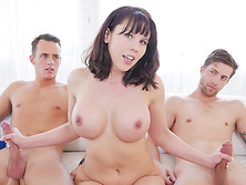 MILF stepmom Amber Chase gets caught between to dicks