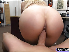 Big tits amateur stripper fucked by pawn man at the pawnshop