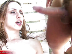 Four shemale girlfriends charge their jizz loads on bigtits