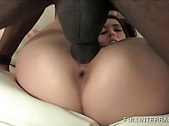 Slim white hoe fucked roughly by hung black guy