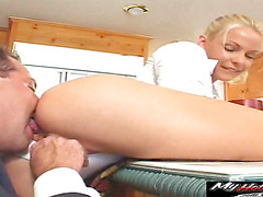 Hot blonde Jodie likes to fuck in the kitchen