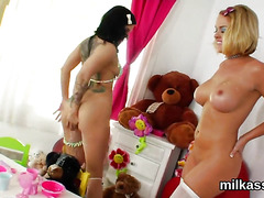 Slutty lesbians fill up their huge fannys with cream and blast it out