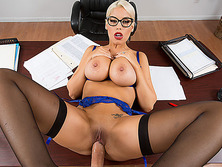 Busty blonde prof Bridgette fucked her student