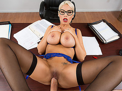Busty blonde prof Bridgette fucked her student
