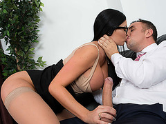Busty babe Jasmine Jae takes a hard cock in her pussy
