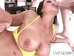 Busty slut gets fucked while sucking cock