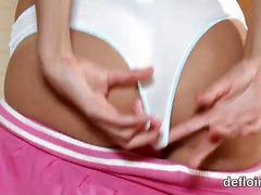 Losing virginity of sensual cutie slim snatch and finger fucking