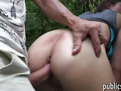 Amateur Czech girl gets fucked in the woods for cash