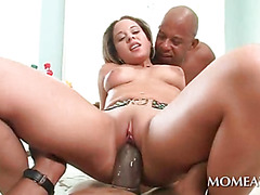 Sexy blonde spreads legs and takes black dick