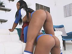 Ebony sluts Tara and Jaime get pounded in threeway