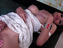 Ladyboy with big tits gets stiff cock jerked off