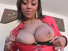 Big ass ebony slut rides big white cock and sucks it passionately