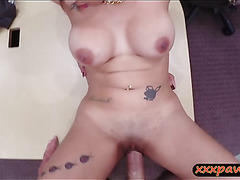 Big boobs babe screwed by pawn keeper to earn extra money