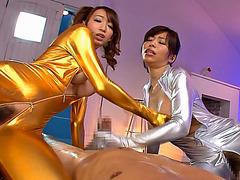 Two slim Japanese honeys take turns fucked then shares cum