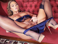 Natalia Forrest in designer heels sexy lingerie teases with nylons on before panties off pussy play