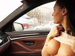 Brunette and beautiful Kitana Lure gets anal action at the backseat